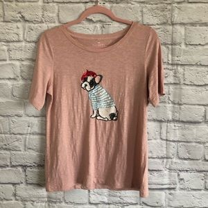 Talbots Pink T-Shirt w/ Sequin French Dog Design